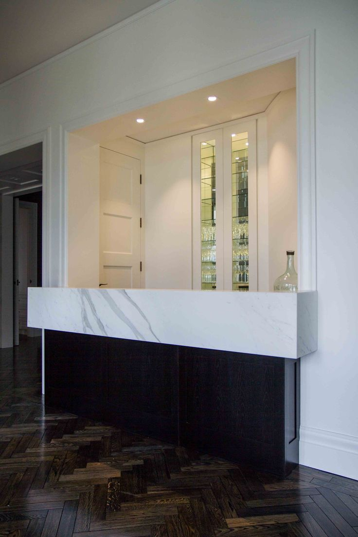 Private home bar with a marble benchtop. www.thekitchendesigncentre.com.au  @thekitchen_designcentre