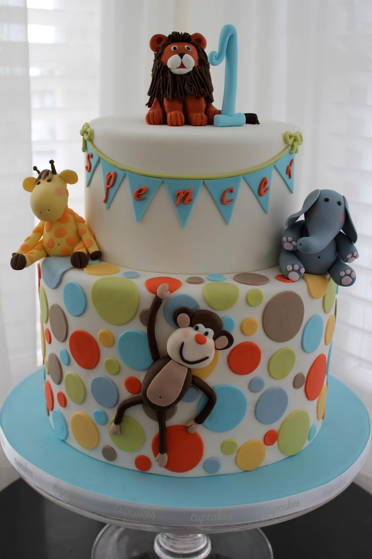 jungle animal birthday cake