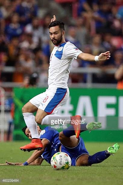 Manuel Gelito Ott of the Philippines competes for the ball during the 2014 AFF Suzuki Cup semi final 2nd leg match between Thailand and Philippines...