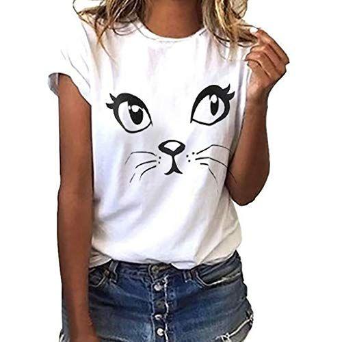 CUTUDE Chemisier Femme Manches Courtes T-Shirts Impression De Chat Tops Polo Gilet Tunic Chemise Tunique Fashion 2020
