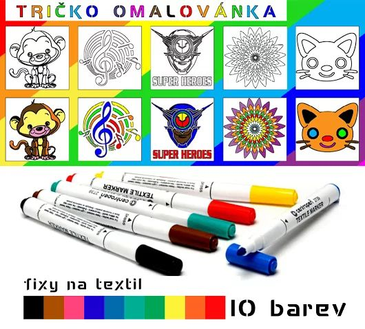 opička, opice, houslový klíč, hudba, super hrdina, marvel, mandala, ornament, květina, kočička, kočka, zvířátka - motiv potisk, tričko omalovánka, fixy na textil ( antistresová omalovánka) T-ART.CZ