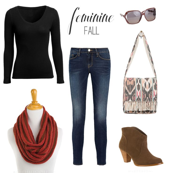 Feminine fall outfit with circle scarf and ankle boots.