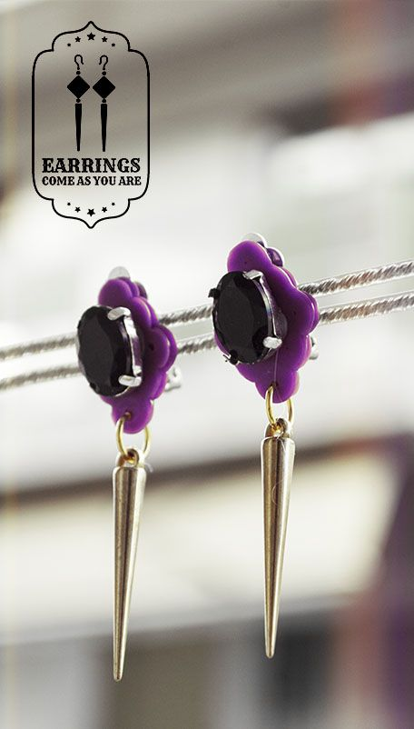 Clip-on Dangle Black Crystal Earrings - Also available in black, pink, white