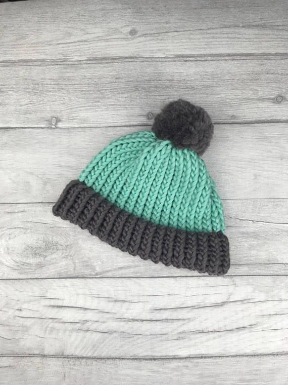 Mint and grey knitted hat aacfd9536685