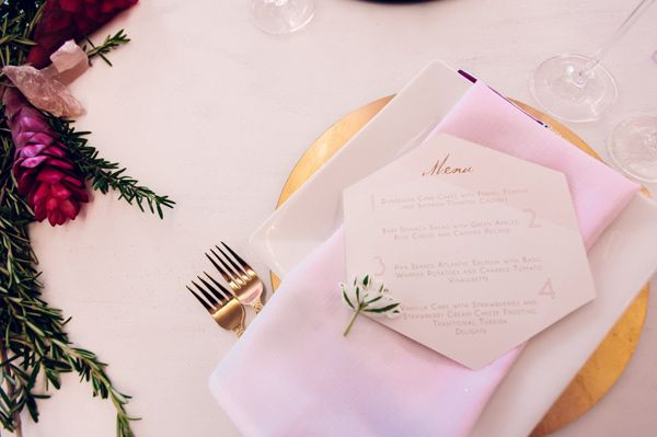 geometric paper goods - photo by Shannon Grant Photography http://ruffledblog.com/rose-quartz-wedding-inspiration: