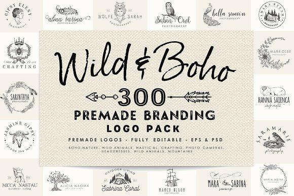 Wild and Boho Premade logo Bundle by CorvusAttic on @creativemarket