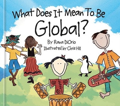 """In this whimsically-drawn and thoughtfully-told story, children learn what it means to be global by visiting the pyramids, eating sushi, celebrating Kwanzaa, and learning how to say """"hello"""" in Swahili. #ChildrensBookWeek #Activism"""