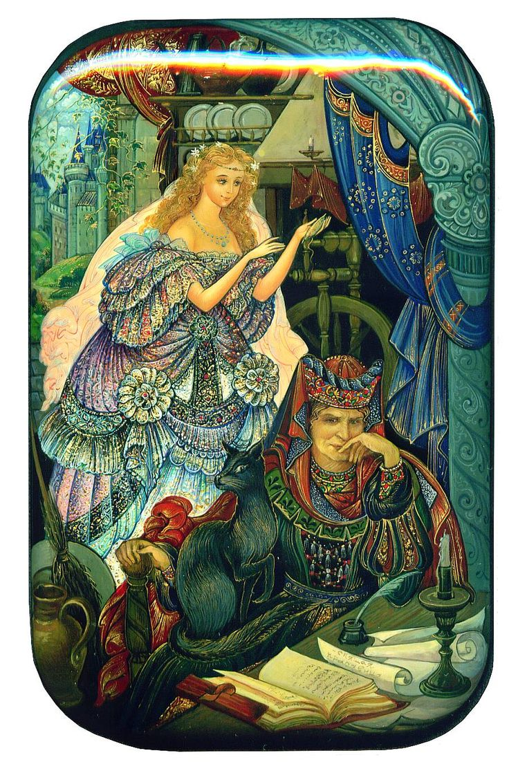 Russian lacquered boxes Sleeping Beauty, Palekh