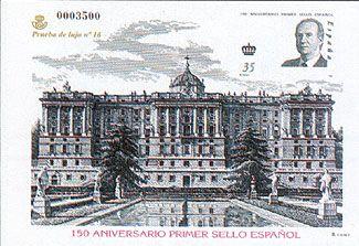 Prueba de Lujo de los sellos conmemorativos del 150 Aniversario del primer sello español puestos en circulación en minipliegos el 3 de enero y en hojas bloque el 26 de mayo.