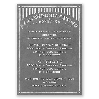 chalkboard sketch accommodations card | wedding hotel cards at Invitations By Dawn