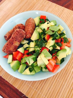 Bean fingers with avocado salad