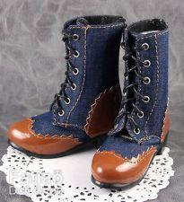 New 1/3 BJD SD Super Dollfie Dolls Boots Shoes - Denim & Khaki