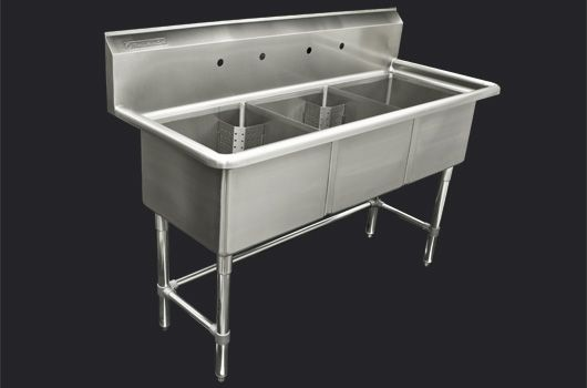 """Triple 18"""" Stainless Steel sink without drainboard. Model: TTS-1818-O. Also available in 24"""" model."""