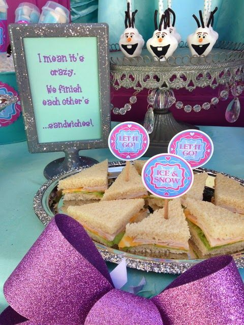 We finish each other's sandwiches - perfect!  Frozen party inspiration from: LAURA'S little PARTY