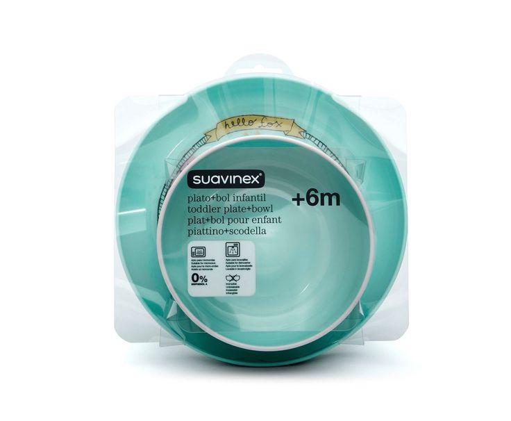 """Beau set cadeau Suavinex bol + assiette pour bébé de la gamme """"Hello Fox"""". Vaisselle incassable et micro-ondable, passe au lave-vaisselle. 0% BPA. Dès 6 mois. Prix : 20.50 €"""