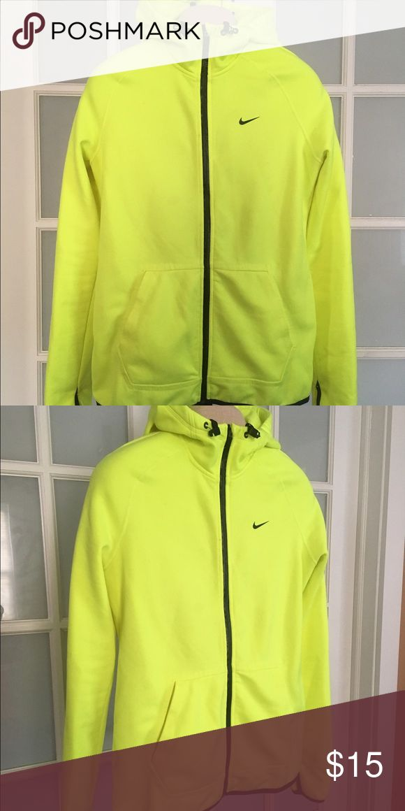 Women's highlighter yellow Nike Hooded zip up Size Medium women's highlighter yellow zip up hoodie! Only worn a handful of times. Nike Tops Sweatshirts & Hoodies