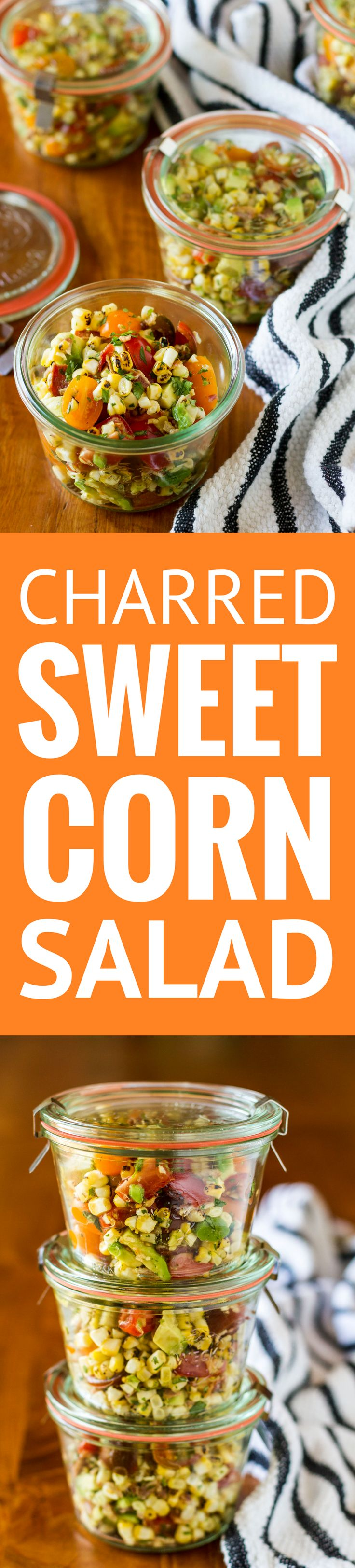 Charred Sweet Corn Bacon Avocado and Tomato Salad -- this light and healthy corn salad recipe is a perfect spring side dish and equally fabulous for summer potlucks… Bonus: it's simple and easy to make! | corn salad recipe easy | corn salad recipe summer | corn salad recipe cold | corn salad recipe side dishes | find the recipe on unsophisticook.com #SunshineSweetCorn #IC ad