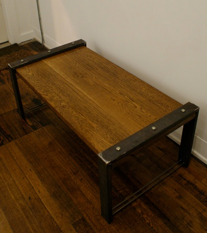 Reclaimed Steel Oak Industrial Coffee Table Play Haus Design Cleveland