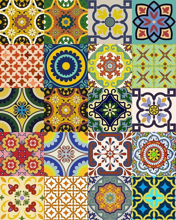 Sticker set mexican tile tile sticker