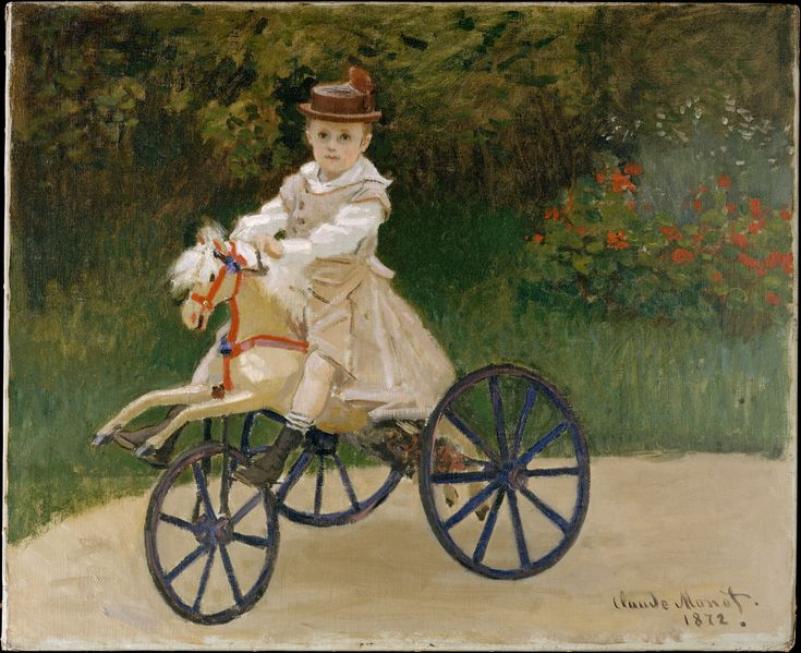 When Monet painted this picture of his elder son, Jean, in the summer of 1872, the artist and his family had recently returned to France from their self-imposed exile during the Franco-Prussian War. Through the efforts of the dealer Paul Durand-Ruel, the artist's finances had begun to improve, enabling the once-impoverished Monets to rent a house in Argenteuil, an agreeable suburb northwest of Paris