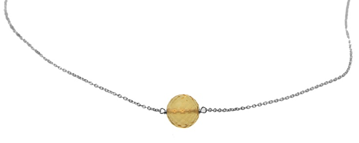 Melissa McArthur Jewellery Circular Cut Lemon Quartz Necklace in Sterling Silver
