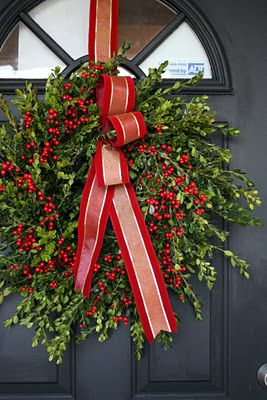 boxwood & red berry wreath - and we have both in our front garden! Wishing I could grow the ribbon too!