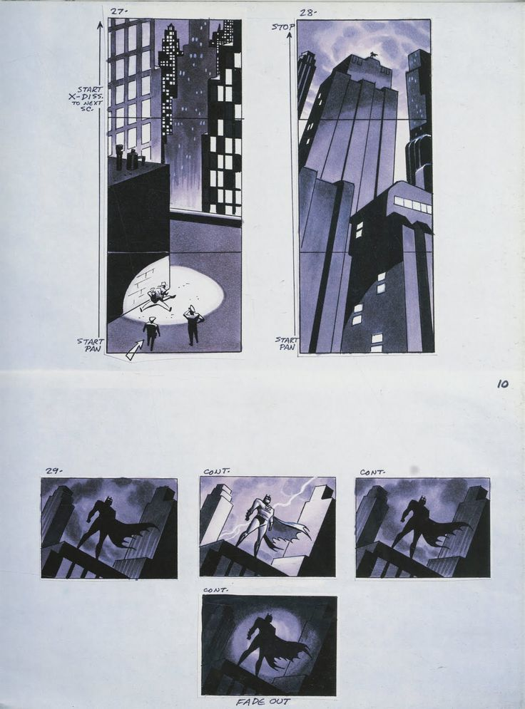 Batman the Animated Series Opening Scene Storyboard