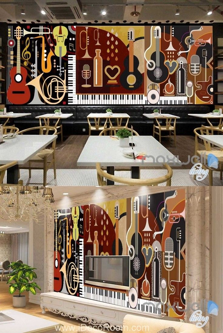 3d music instruments volin wall mural paper art print on walls coveralls website id=21023