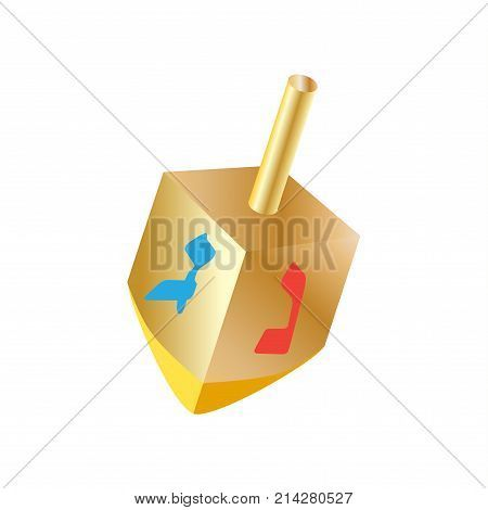 Hanukkah Festival of Lights. Gold Dreidel a small four-sided spinning top with a Hebrew letter on each side, used by the Jews. Spinning top, wood dreidel isolated on white background, symbol of Hanukkah Jewish Holiday logo design.