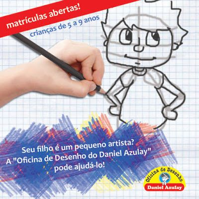 Curso Iniciante - matrículas abertas!  A Oficina de Desenho Daniel Azulay - Largo do Machado está com matrículas abertas na modalidade Iniciante. Destinada a criança de 5 até 9 anos, o curso ensina os princípios do desenho, auxiliando a melhoria da parte motora e emocional da criança.