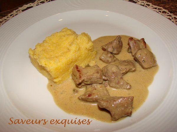 Foie de veau émincé, sauce moutarde à la crème