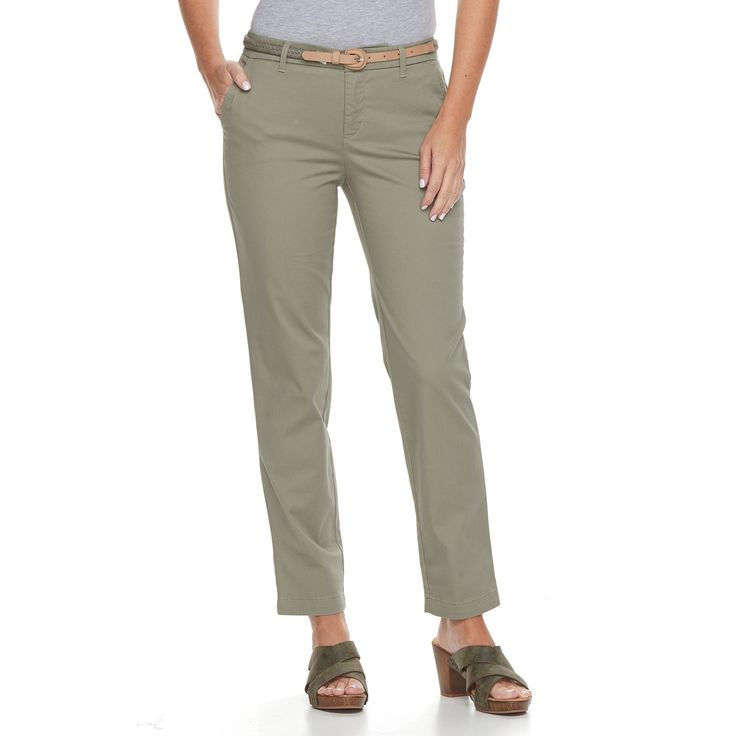 Petite Croft & Barrow® Tapered Chino Pants, Women's, Size: 6P - Short, Green