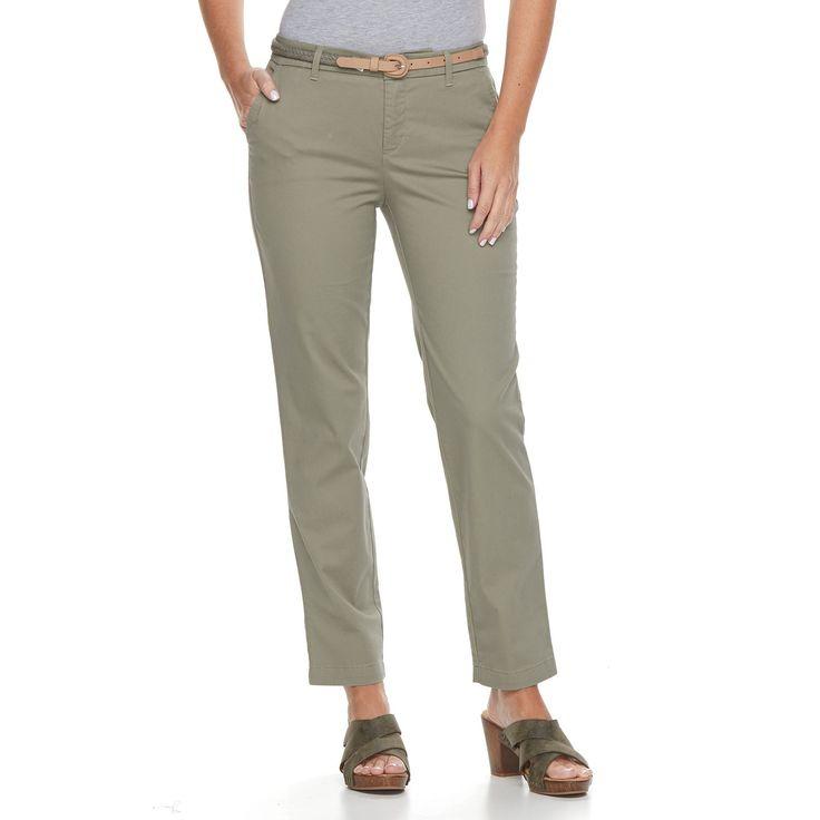 Petite Croft & Barrow® Tapered Chino Pants, Women's, Size: 6P - Short, Green