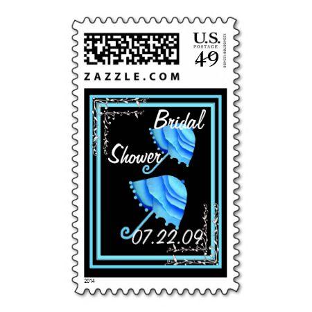 Bridal Shower Customizable Stamp with Umbrellas #wedding #stamps #love #marriage #romance #bride #groom #jaclinart #postage #shower #umbrellas