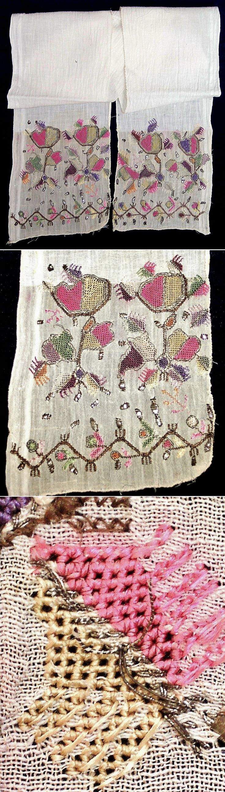 A cotton 'uckur' (waistband/sash) with embroidered ends. From Bursa or the Marmara region, c. 1900. Various techniques of 'two-sided' embroidery were used (identical on both sides of the fabric), executed in silk (for the coloured parts) and with metal threads and strips ('tel kırma') for the 'goldwork'. (Inv.nr. brdw034 - Kavak Costume Collection - Antwerpen/Belgium).