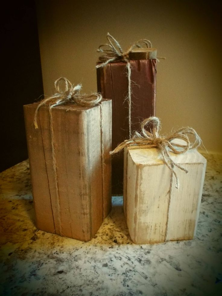 Rustic Wood Block Christmas Presents Table Decor Decorations Prim Primitive Distressed by 925Crafts on Etsy