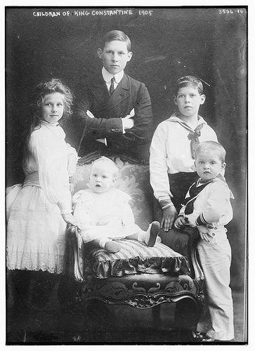 Children of King Constantine, clockwise: Helen, George, Alexander, Paul and Irene
