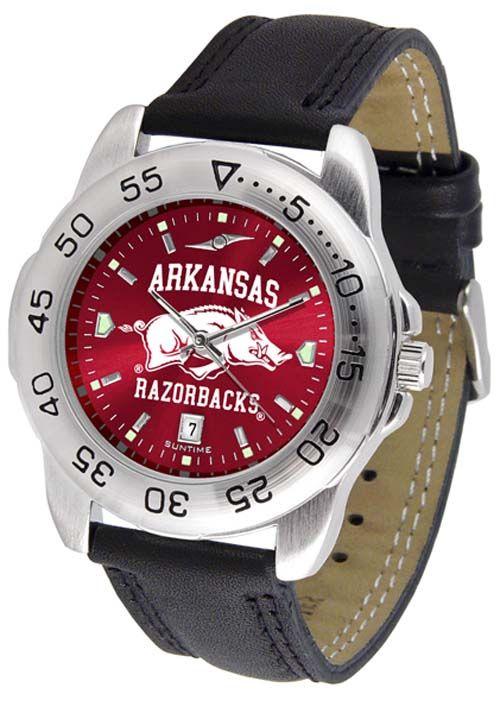 Arkansas Razorbacks Sport AnoChrome Men's Watch with Leather Band