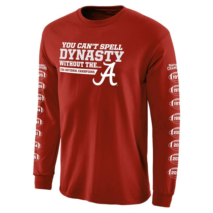 Alabama Crimson Tide College Football Playoff 2015 National Champions Dynasty Long Sleeve T-Shirt - Crimson - $25.64