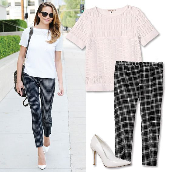 10 Celebrity-Inspired Summer Outfits to Wear to Work - Textured Top + Checked Trousers from #InStyle