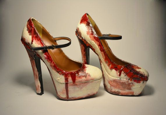 Zombie Flesh Heels perfect for a Pure Horror night out ! Amaze everyone with these fantastic creations 100% HANDMADE! Hand-painted, painted and waterproofed  Your shoe may differ slightly in shape from that in the photo, according to availability of the provider (for example with or without strap, round or square tips). If you are looking for a specific model please write in the notes at the time of purchase and will do everything to fulfill your wishes! AVAILABLE IN WOMENS EU SIZES 36-42…