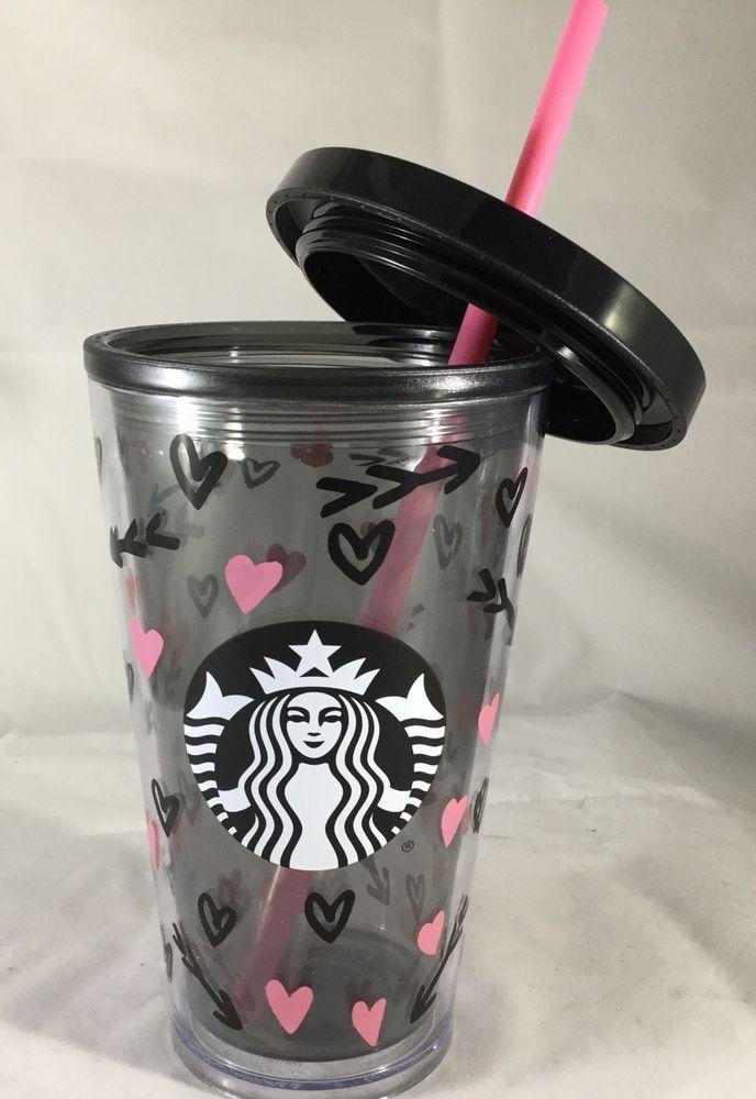 2017 Starbucks Valentines Day Cold Cup Black Pink Hearts 16 oz Acrylic #Starbucks