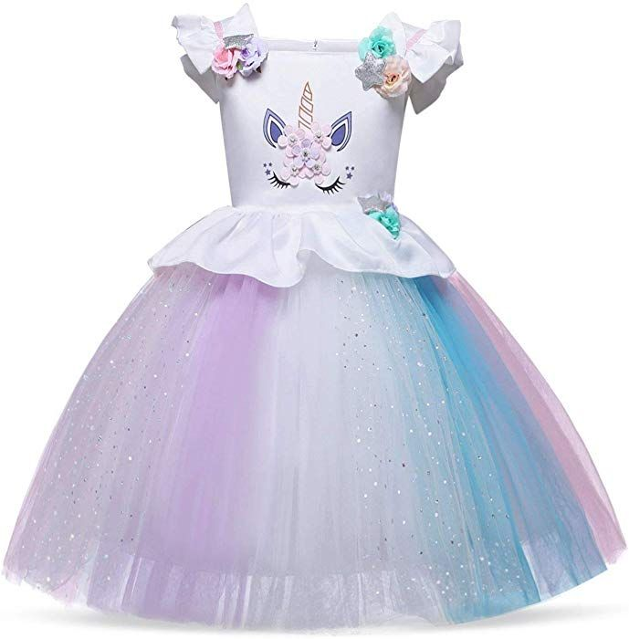 846dc863bccaf Amazon.com: Cotrio Unicorn Costume Dress Girls Princess Tutu Dresses  Pageant Party Evening Gowns Size 2T (1-2Years, Rainbow White): Clothing