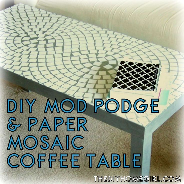 DIY Parsons coffee table makeover with gloss Mod Podge, silver leaf Rub n Buff, and white scrapbook paper in neutral living room with figure 8 or infinity symbol