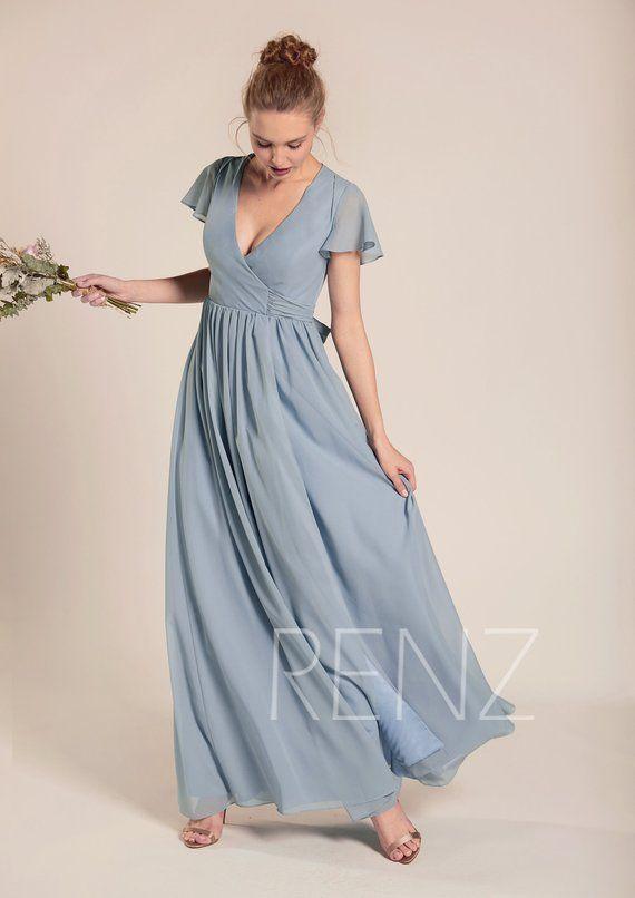 Bridesmaid Dress Dusty Blue Chiffon Dress Wedding Dress V Neck Etsy Dusty Blue Bridesmaid Dresses Dress Dusty Blue Chiffon Dresses