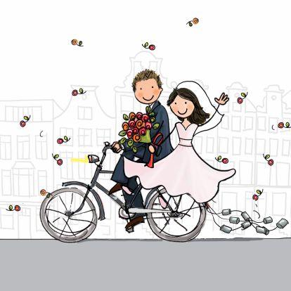 Trouwkaart fiets met blikjes - Trouwkaarten - Kaartje2go