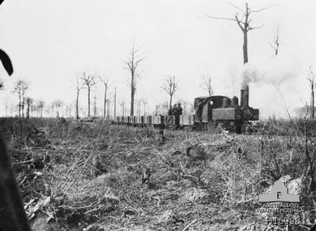 Messines Area Belgium 1917 A Light Railway Train Going