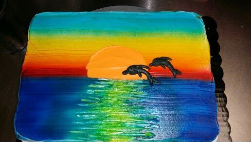 Dolphins and sunset ocean sheet cake- whipped icing by Sarah Stump
