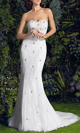 Sheath/Column Strapless Court Train Lace And Tulle Wedding Dress
