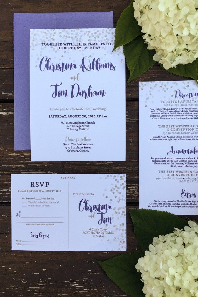 toronto wedding invitations%0A Wedding Invitation Suite Components  Navy metallic envelopes Invitation  Direction card RSVP postcard Save the Date Magnets Thank you postcards  Flowers from